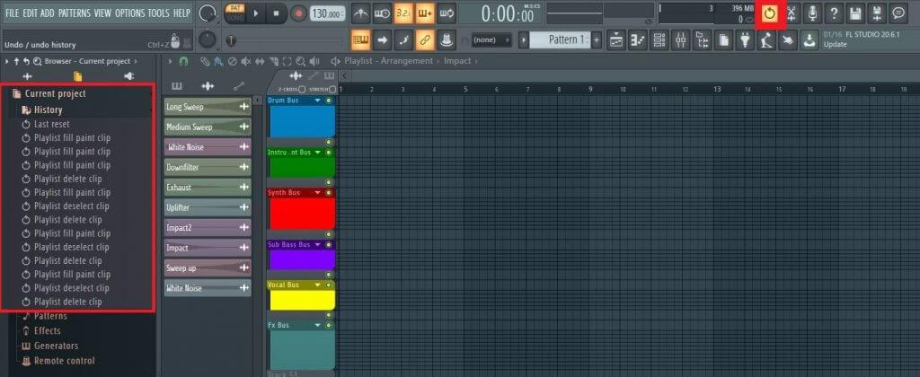 FL Studió screenshot, ahol be vannak keretezve a visszavonás gombjai.